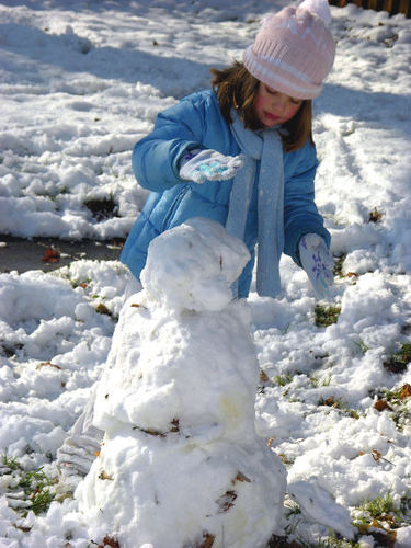 -- play january snowman female youth snow cold hat build kid december winter