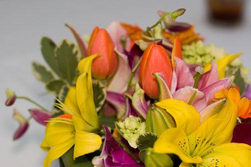 plant pink green orange centerpiece bouquet purple yellow flower wedding
