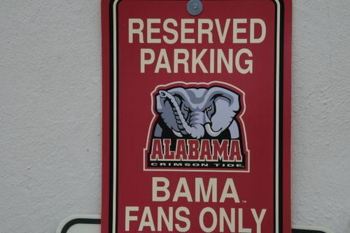 -- crimson bama tide fans teams elephants signs university college elephant space parking