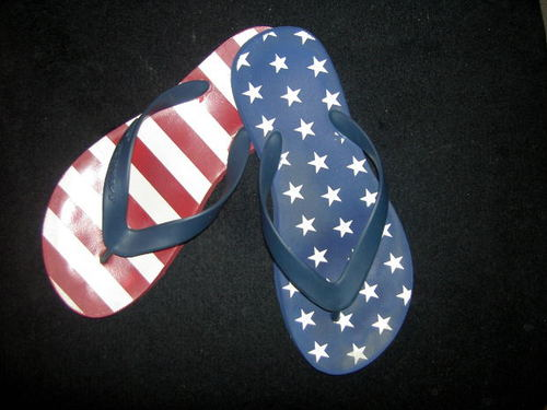 -- white blue sandals flip summer flops patriotic red thongs shoes