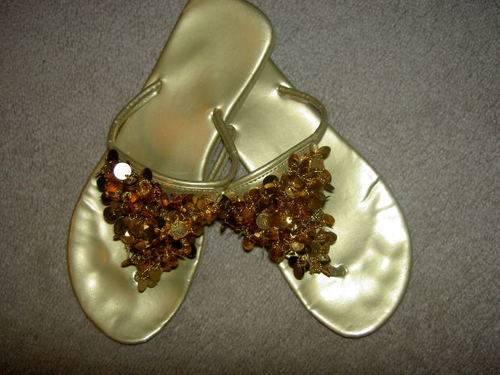 -- flip gold sandals flops thongs sparkles